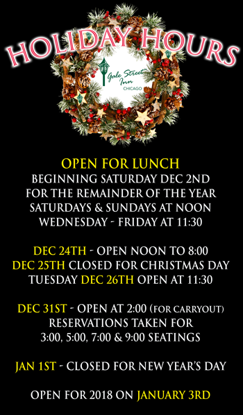 Gale Street Inn Chicago, Holiday Hours
